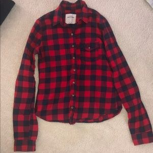 Abercrombie Kids Red and Navy Blue Plaid Flannel